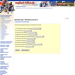 Question tags in English - Matching Exercise - Learning English Online