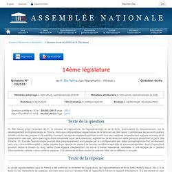 JO ASSEMBLEE NATIONALE 09/05/17 Au sommaire: QE 103555 agriculture - politique agricole - agroécologie. développement