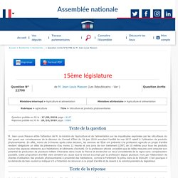 JO ASSEMBLEE NATIONALE 29/10/19 Au sommaire: QE 22798 agriculture - Viticulture et produits phytosanitaires