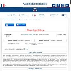 JO ASSEMBLEE NATIONALE 21/01/20 Réponse à question N°QE 24854 agriculture - L'encadrement de la cohabitation entre les agriculteurs et leurs voisins