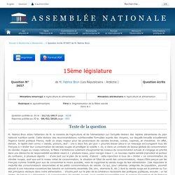 JO ASSEMBLEE NATIONALE 02/02/18 Au sommaire: QE 3657 agroalimentaire - Stigmatisation de la filière viande dans le cadre du PNNS