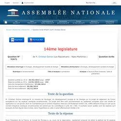 JO ASSEMBLEE NATIONALE 13/01/15 Réponse à question: QE 52671 environnement - protection - faune et flore invasives. lutte et prévention