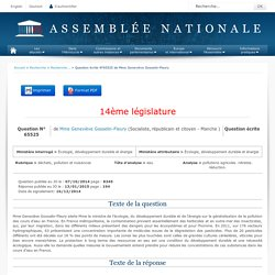 JO ASSEMBLEE NATIONALE 13/01/15 Réponse à question: QE 65525 déchets, pollution et nuisances - eau - pollutions agricoles. nitrates. réduction