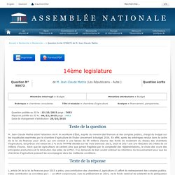 JO ASSEMBLEE NATIONALE 08/12/15 Au sommaire: QE 90073 chambres consulaires - chambres d'agriculture - financement. perspectives