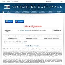 JO ASSEMBLEE NATIONALE 12/01/16. Au sommaire: QE 91056 agriculture - apiculture - pesticides. réglementation