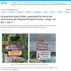 """La question pas si bête : pourquoi les noms de communes de Moselle finissent-ils par """"ange"""" et par """"ing"""" ?"""