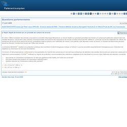 PARLEMENT EUROPEEN - réponse à question E-2147/08 Dépôt de brevet sur un procédé de culture du brocoli