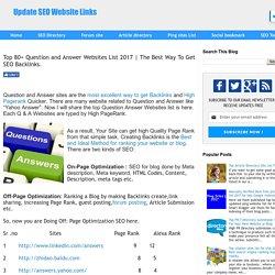 Top 80+ Question & Answer Websites List-2016