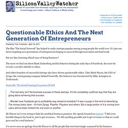 Questionable Ethics And The Next Generation Of Entrepreneurs