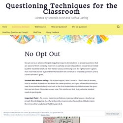 Questioning Techniques for the Classroom