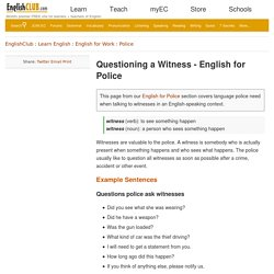 English for Questioning a Witness
