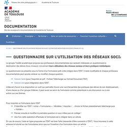 Questionnaire sur l'utilisation des réseaux sociaux et les pratiques médiatiques des élèves (TraAM 2015-16)