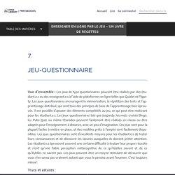 Jeu-questionnaire – Enseigner en ligne par le jeu – Un livre de recettes