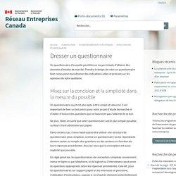 Dresser un questionnaire - Réseau Entreprises Canada
