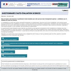 Questionnaire d'auto-évaluation Sciences - Terminales 2019/2020