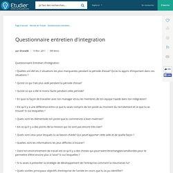 Questionnaire d'évaluation d'intégration