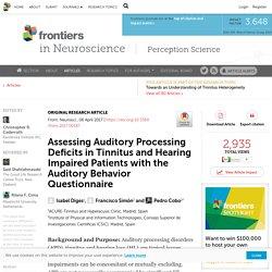 Assessing Auditory Processing Deficits in Tinnitus and Hearing Impaired Patients with the Auditory Behavior Questionnaire