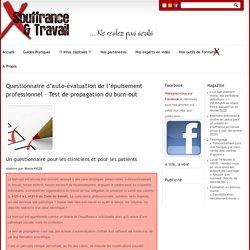 Questionnaire d'auto-évaluation de l'épuisement professionnel - Souffrance et Travail