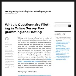 What Is Questionnaire Piloting in Online Survey Programming and Hosting – Survey Programming and Hosting Agents