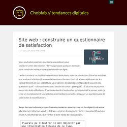 Site web : construire un questionnaire de satisfaction