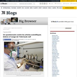 Un questionnaire contre les articles scientifiques bidons à l'usage de l'internaute naïf
