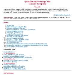 Questionnaire Design and Surveys Sampling