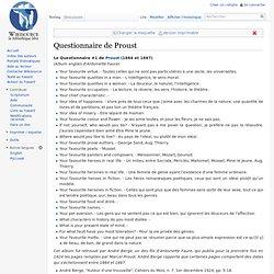 Questionnaire de Proust