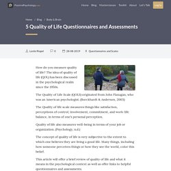 5 Quality of Life Questionnaires and Assessments
