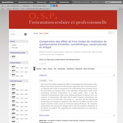 Comparaison des effets de trois modes de restitution de questionnaires d'intérêts: nomothétique, constructiviste et intégré