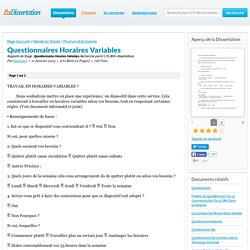 Questionnaires Horaires Variables - Rapports de Stage - laurynef
