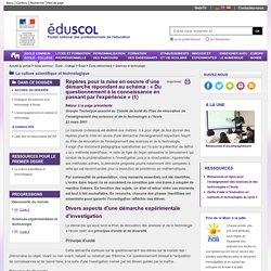 Sciences et technologie - Repères pour la mise en oeuvre d'une démarche : «Du questionnement à la connaissance en passant par l'expérience» - Éduscol