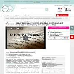 Les autres du sujet lecteur-scripteur : questionnement théorique et remarques...