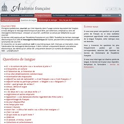 Langue française-Questions de langue