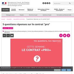 """12c2016 5 questions réponses sur le contrat """"pro"""" - L'actualité du ministère"""