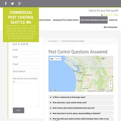 Commercial Pest Control Seattle WA