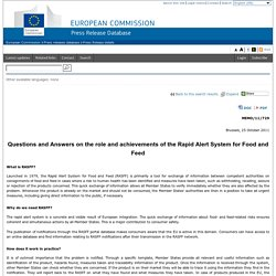 EUROPE 25/10/11 Questions and Answers on the role and achievements of the Rapid Alert System for Food and Feed