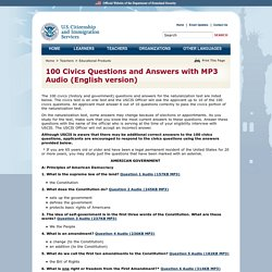 100 Civics Questions and Answers with MP3 Audio (English version)