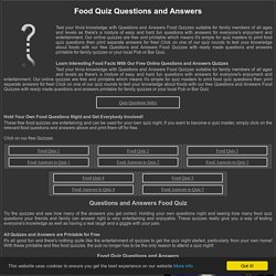 Questions and Answers Food Quiz
