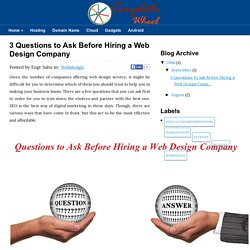 3 Questions to Ask Before Hiring a Web Design Company