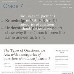 The Types of Questions we Ask: which categories of questions should we focus on?
