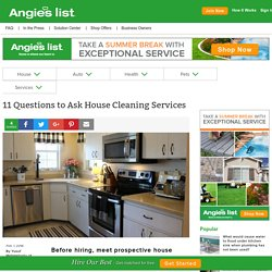 11 Questions to Ask House Cleaning Services