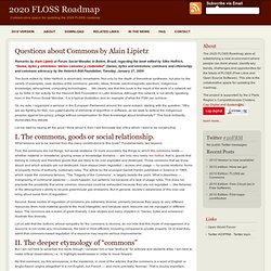 Questions about Commons by Alain Lipietz