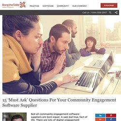 15 Questions For A Community Engagement Software Supplier To Ask