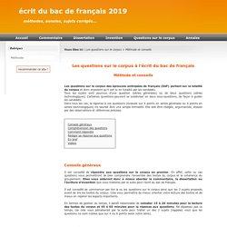 Les questions sur le corpus pour l'écrit du bac de français