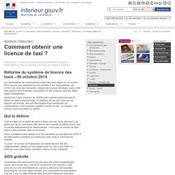 Comment obtenir une licence de taxi ? / Questions ? Réponses ! / Secteurs