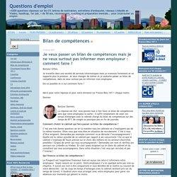 Questions d'emploi: Bilan de compétences