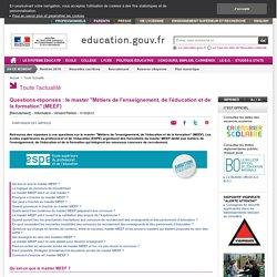 """Questions-réponses : le master """"Métiers de l'enseignement, de l'éducation et de la formation"""" (MEEF)"""