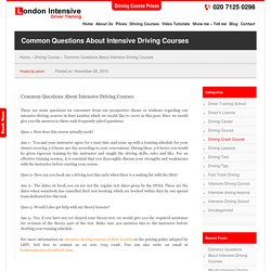 Common Questions About Intensive Driving Courses