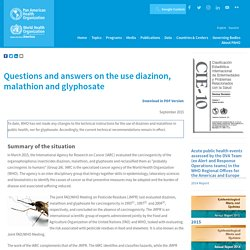 PAHO - SEPT 2015 - Questions and answers on the use diazinon, malathion and glyphosate