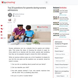 Top 20 questions for parents during nursery admissions